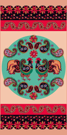 Ornament with cockerels, paisley and flowers in folk style. Lovely towel print.