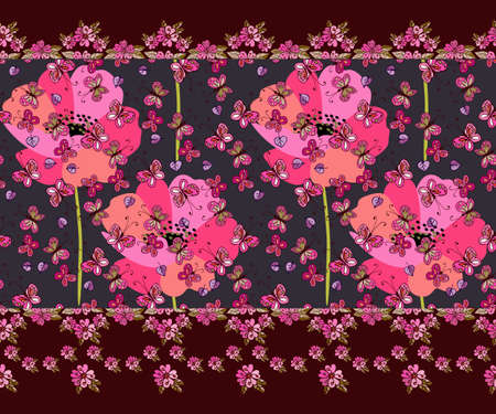 A beautiful horizontal border with tiny fluttering butterflies and flying leaves against the backdrop of huge pink poppies and a garland of small flowers. Summer print for fabric. Ilustracja