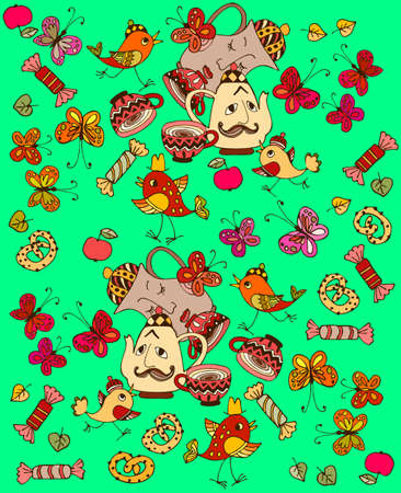 Kawaii pattern for home textiles: funny teapot and jug, amazing birds, as well as butterflies, tea cups, sweets and fruits on a cheerful green background.