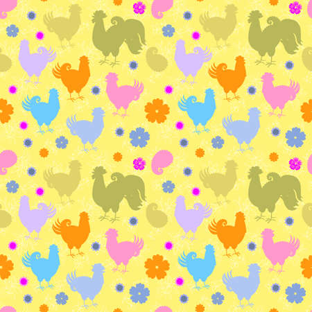 Seamless pattern with multicolored silhouettes of roosters, hens and chickens, with flowers and paisley on a yellow background. Print for fabric, wallpaper, wrapping paper.