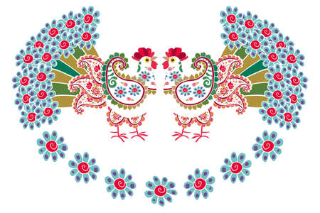 Fabulously beautiful white roosters with paisley-shaped wings and tails in the form of lush bouquets of blue flowers on a white background. Design element.