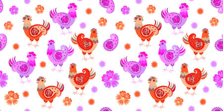 Seamless ornament with cute cartoon hens, paisley and flowers on a white background. Ilustracja