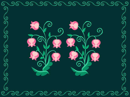 Delicate lilies of the valley on a green background. Floral kawaii patttern. Towel, napkin, print for fabric, wedding invtation card.
