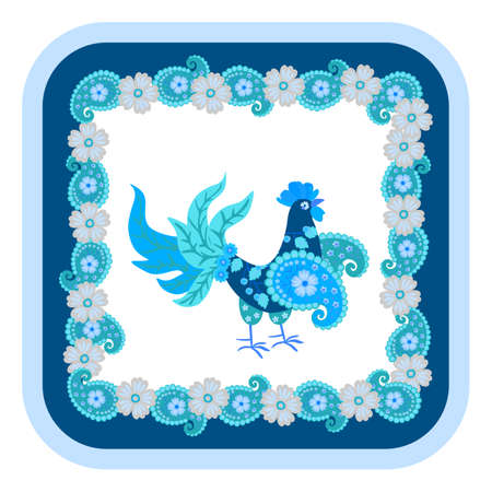 Small blue rooster with sapphire tail and paisley-shaped wings isolated on white background and beautiful frame of flowers and paisley around. Print for fabric, ceramic tiles, hot plate, mouse pad.