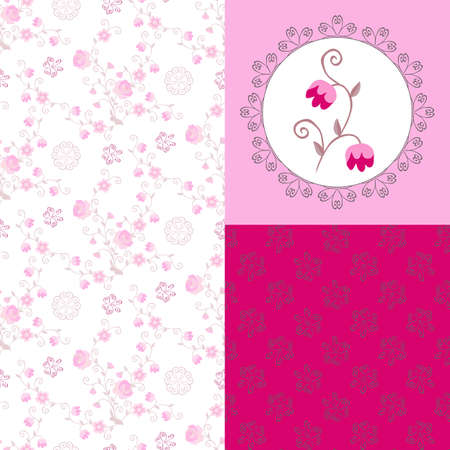 Beautiful collection of matching fabrics with tender pink flowers. Print for T - shirt and two seamless patterns with floral ornament and graceful butterflies.