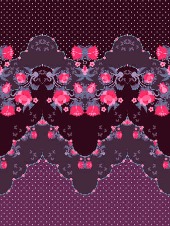 Lovely floral border with drawing red roses, stylized tulips, fabulous bells flowers, butterflies and lace on purple polka dot background. Ilustracja