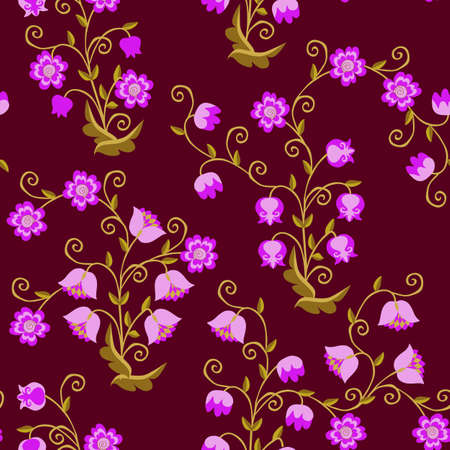 Seamless floral pattern with stylized lilies of the valley, bells and other fabulous flowers on a dark purple background. Print for fabric, wallpaper, packaging design.
