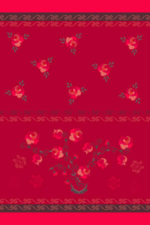 Delightful bouquet of red roses and bells in vintage style. Stylish curl border. Towel print. Design elements. Ilustracja