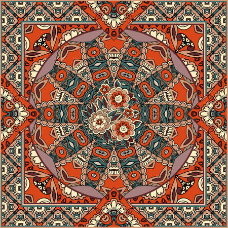 Pattern for a scarf with a mandala, flowers and an ornamental frame. Ilustracja
