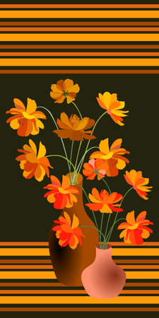 Orange cosmos flowers in vases on the background with stripes.