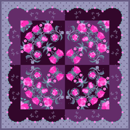 Beautiful bandana print with floral ornament. Creative design with bright pink flowers. Decorative pillowcase, napkin, square kerchief.