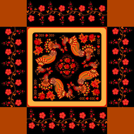 Gift box lid template with fancy roosters, red roses and floral garlands on black background. Russian folk motifs.