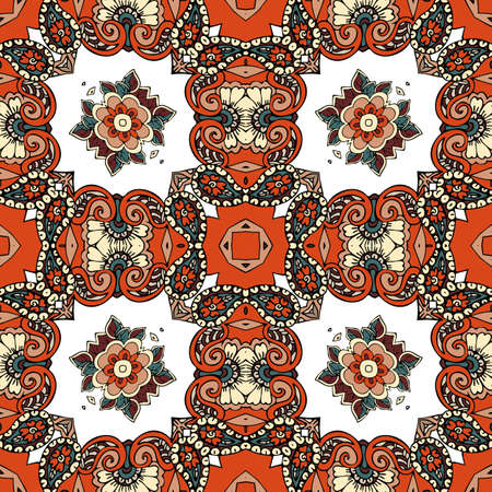 Colorful seamless pattern with floral and paisley ornament in ethnic style. Bandana print, square kerchief, pillowcase, napkin. Boho motifs.