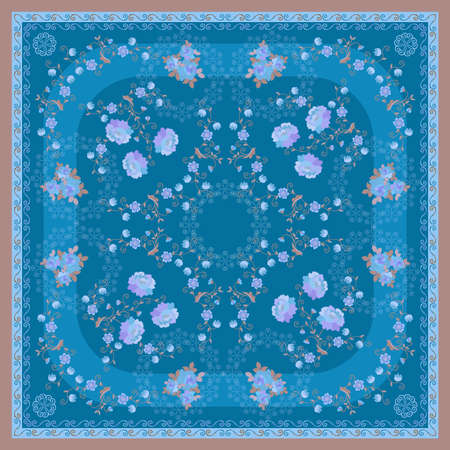 Indigo and azur colors square pattern with bouquets of flowers and intricate floral garlands. Romantic print for silk scarf or cushion. Vintage design. Ilustracja