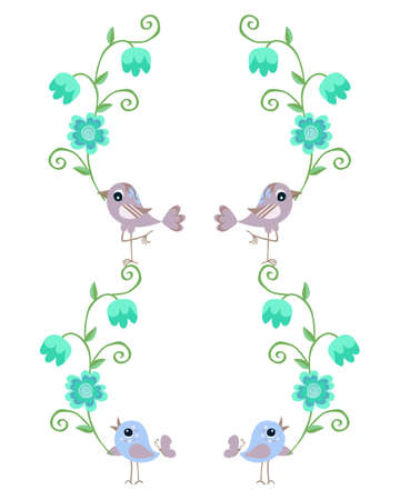 Beautiful card with birds and flowers on white background. Cute vector illustration.