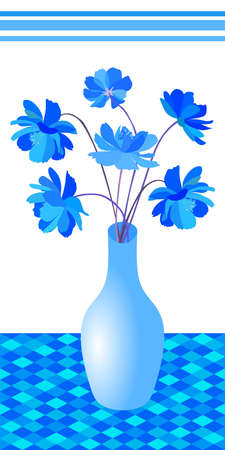 Beautiful bouquet of bright blue flowers in vase on tablecloth with geometric ornament. Print for towel. Vector illustration