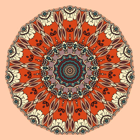 Abstract round pattern in ethnic style with border of halves of flowers. Print for circle rug, carpet, umbrella.