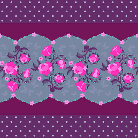 Seamless floral border. Beautiful pink roses and butterflies. Print for fabric. Vector design. Ilustracja