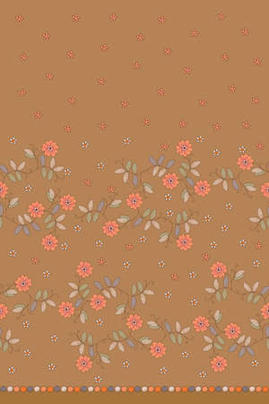Delicate embroidery seamless pattern with flowers. Beautiful print for fabric, dress, curtains. Ilustracja