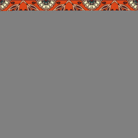 Bandana print with flowers and paisley on light blue background, and ornamental border. Square cushion, scarf, shawl. Vector design. Ilustracja