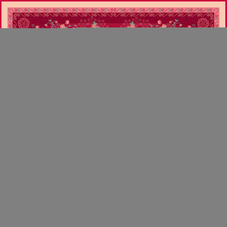 Romantic pattern for shawl with bunhes of roses, bouquets of poppies and garlands of little garden flowers on crimson background. Floral silk scarf design, fashion textile.