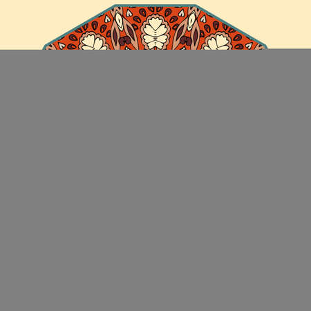 Round rug, ornamental dish or umbrella pattern with painted flowers and decorative border.