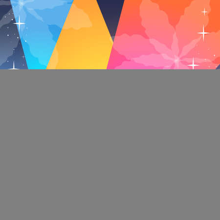 Bright triangles, little stars and stylized snowflakes. Festive christmas background in vector.