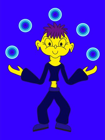 fantastic cartoon boy in blue clothes juggles with blue balls