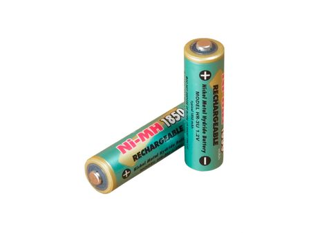 nimh: A pair of rechargeable batteries Stock Photo