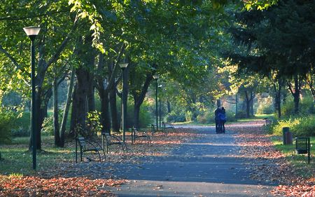 Couple taking a walk in the city park photo