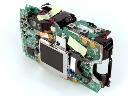 megapixel: Interior of a digital camera against white background
