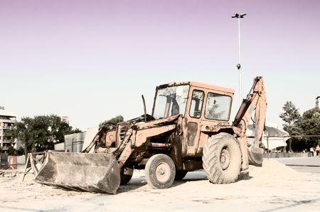 dragline: Yellow bulldozer ready to start working