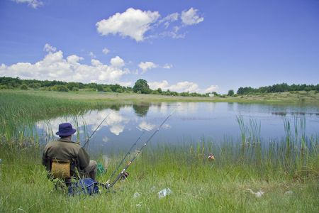macedonia: Fisherman on the lake shore in Macedonia