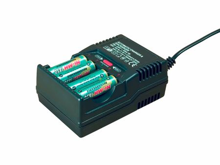 charger: Battery charger against white background Stock Photo