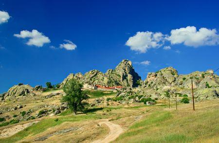 macedonia: Gravel road and rocks ahead in Macedonia