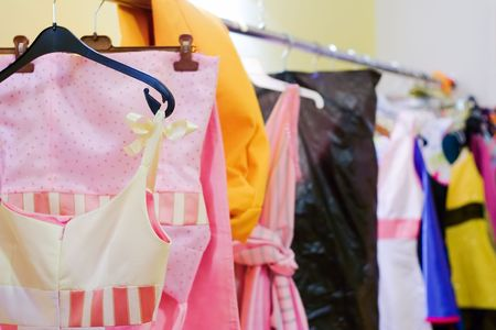 laundered: Designer clothes lined up in a closet