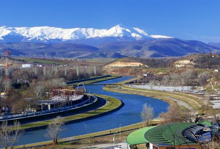 macedonia: A view of river Vardar in Skopje, Macedonia