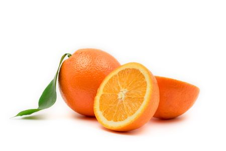 aliment: Oranges against white background