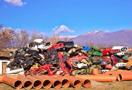 discarded metal: Scrapheap in Skopje