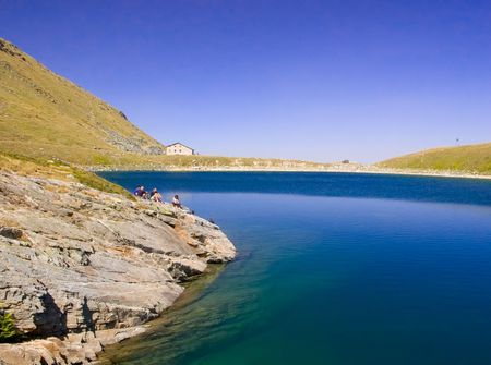 hovel: A view of a glacial lake in national park Pelister in Macedonia