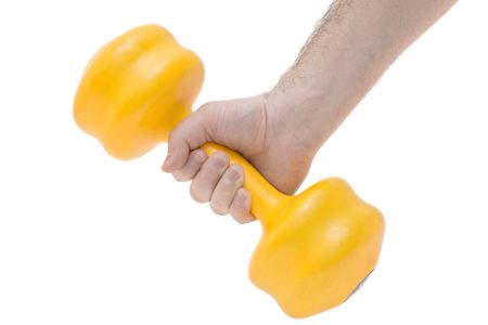 sweats: Hand holding weights against white background