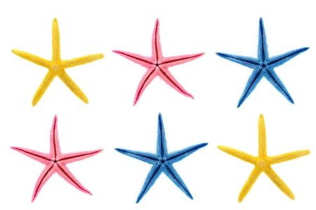 Starfish in different colors against white background Stock Photo
