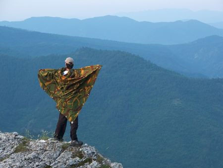 Man standing on the edge of the mountain in Macedonia photo