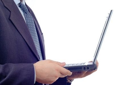Businessman with a laptop computer Stock Photo - 490381