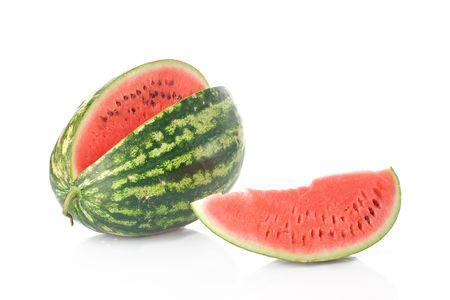 sliced watermelon: Watermelon against white background