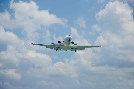 Large passenger plane attempting to land on Corfu island, Greece photo