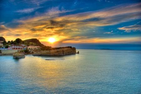 Sunset over Corfu island, Greece Stock Photo