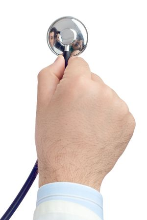 clench: Doctor holding a stethoscope Stock Photo