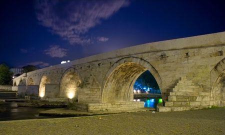 macedonia: Famous Stone bridge in Skopje, Macedonia Stock Photo