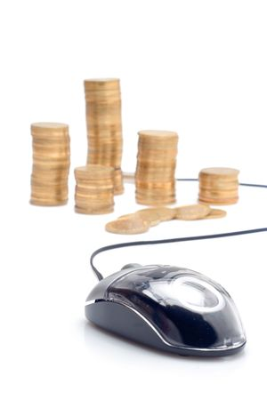 Mouse and coins against white background photo
